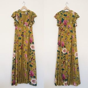 ASOS Lace Godets Maxi Dress Mustard Floral Print